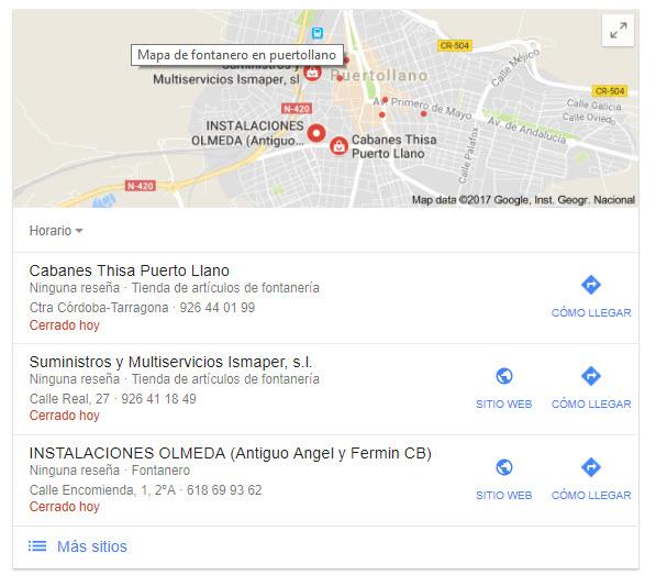 Google Maps para posicionar fontanero
