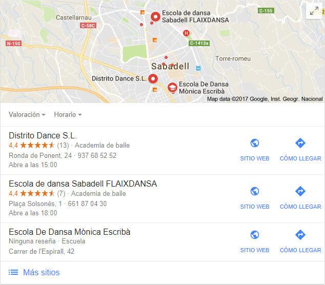 Google maps para escuela de danza en Sabadell