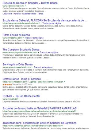 posicionamiento orgánico para escuelas de danza en Sabadell